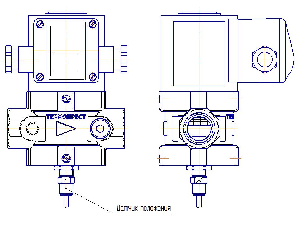 Схема                         клапана с нижним рассположением датчика положения